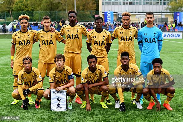 The Tottenham players line up for a team photograph before the UEFA Champions League Youth match between PFC CSKA Moskva and Tottenham Hotspur FC at...