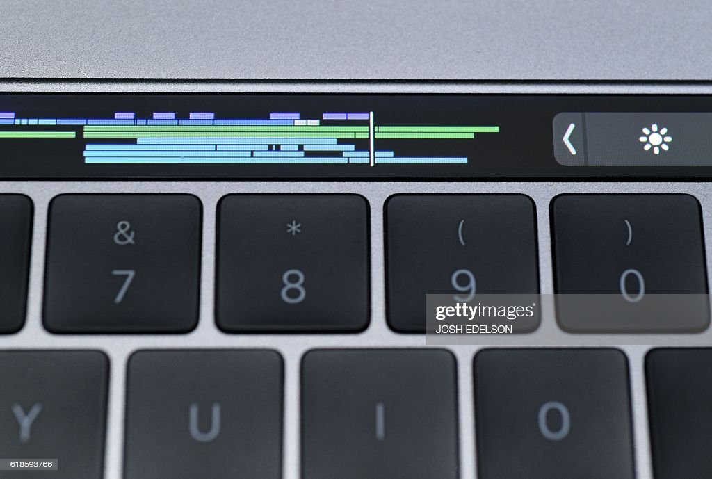 The Touch Bar is seen on a new MacBook Pro during a product launch event at Apple headquarters in Cupertino, California on October 27, 2016.