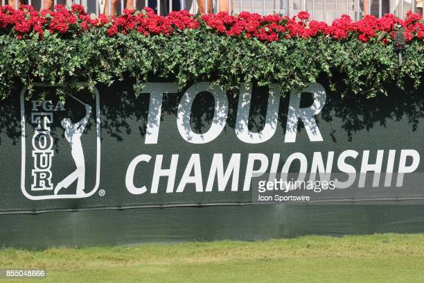 The Tour Championship logo is displayed at the first round of the PGA Tour Championship. The Tour Championship is the final event of the FedEx Cup...
