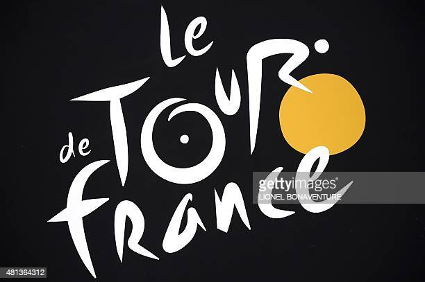 The Tour de France logo is pictured during the 2235 km fourth stage of the 102nd edition of the Tour de France cycling race on July 7 between the...