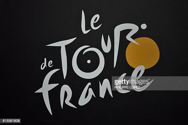 The Tour de France logo is pictured during the presentation of the official route of the 2017 edition of the Tour de France cycling race in Paris on...