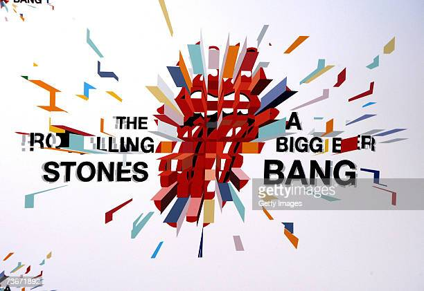 The tour logo is displayed at a webcast where Mick Jagger of The Rolling Stones announced details of the band's 'A Bigger Bang' 2007 european tour at...