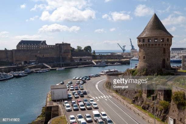 the tour tanguy and château de brest - finistere stock photos and pictures