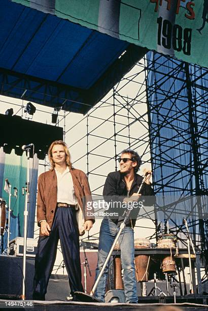 Rock musicians Sting and Bruce Springsteen on stage during the 'Human Rights Now' world tour in aid of Amnesty International September October 1988...