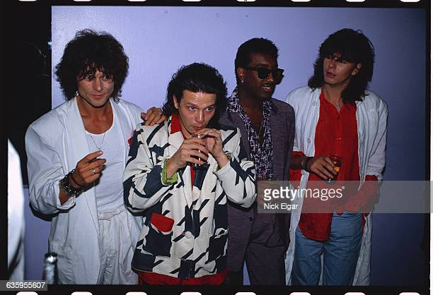The touring members of rock band The Power Station Michael Des Barres Andy Taylor Tony Thompson and John Taylor