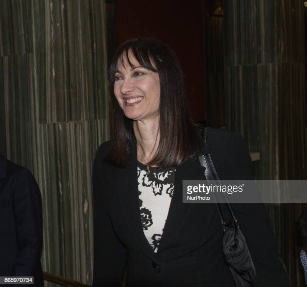 The Tourism Minister of Greece Elena Kountoura arrives at the concer of Carla Bruni Athens Greece 24 October 2017 French Touch is the title of Brunis...