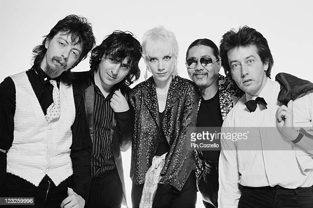 The Tourists guitarist Dave Stewart singer and guitarist Peet Coombes singer and keyboard player Annie Lennox bassist Eddie Chin and drummer Jim...