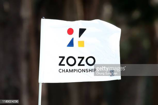 The tournament flag waves on the 7th green during the first round of the ZOZO Championship at Accordia Golf Narashino Country Club on October 24 2019...