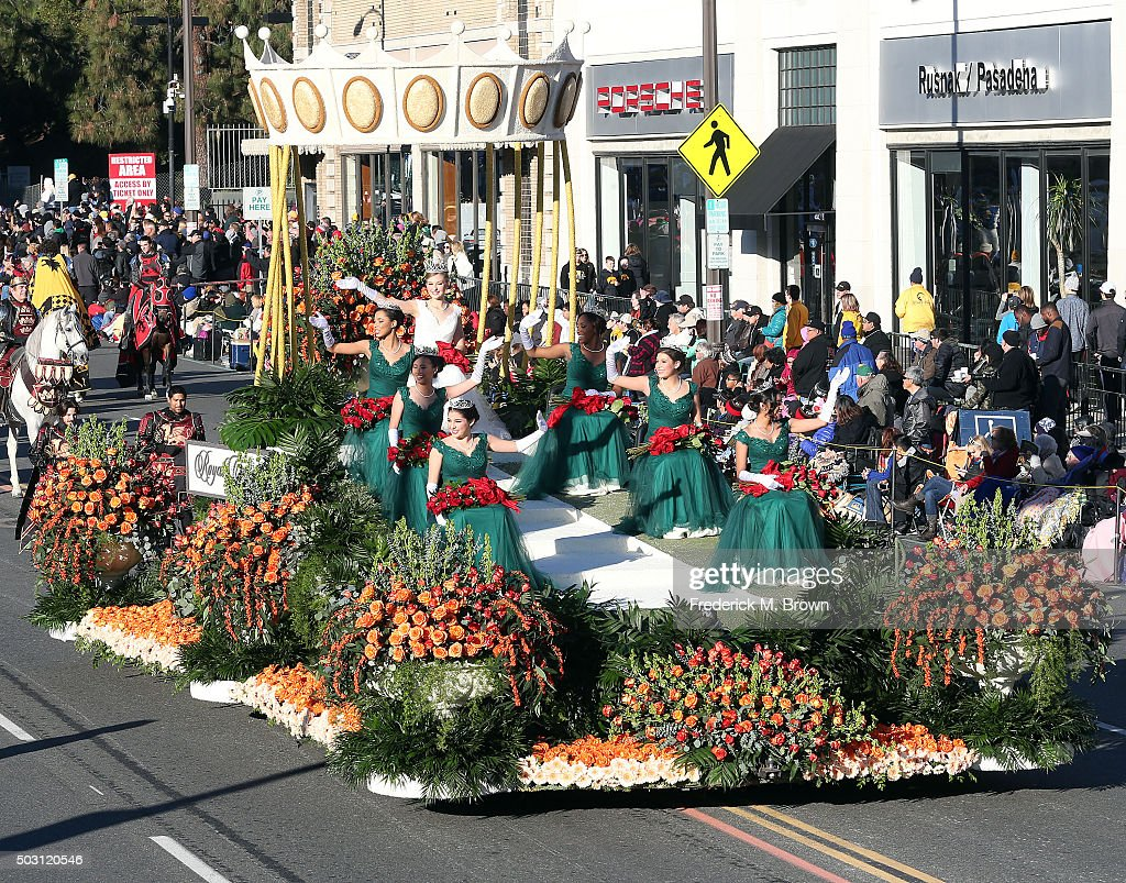 The Tournament of Roses Queen and her court on the parade route during the 127th Tournament of Roses Parade Presented by Honda on January 1, 2016 in Pasadena, California.