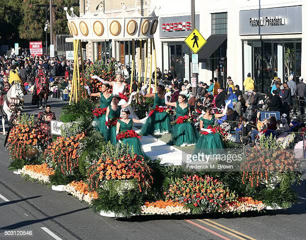 The Tournament of Roses Queen and her court on the parade route during the 127th Tournament of Roses Parade Presented by Honda on January 1 2016 in...