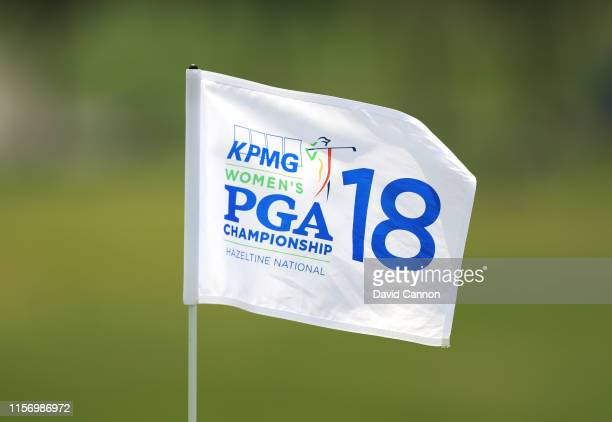 The tournament pin flag on the 18th green during practice for the 2019 KPMG Women's PGA Championship at Hazeltine National Gof Club on June 19, 2019...