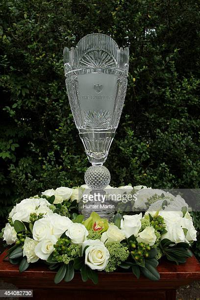 The tournament trophy is displayed during the final round of The Barclays at The Ridgewood Country Club on August 24 2014 in Paramus New Jersey