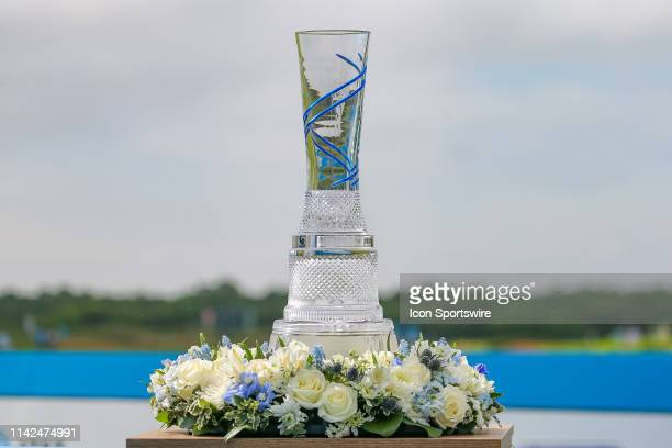 The tournament trophy is on display during the first round of the ATT Byron Nelson on May 9 2019 at Trinity Forest Golf Club in Dallas TX
