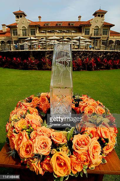 The tournament trophy is seen in front of the clubhouse during the second round of THE PLAYERS Championship held at THE PLAYERS Stadium course at TPC...