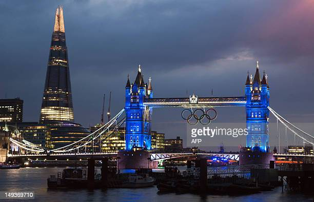 The Tower Bridge and the Shard in London on July 27 before the opening ceremony of the London 2012 Olympic Games AFP PHOTO / WILL OLIVER