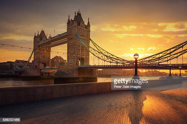 The Tower Bridge in London, United Kingdom at sunrise