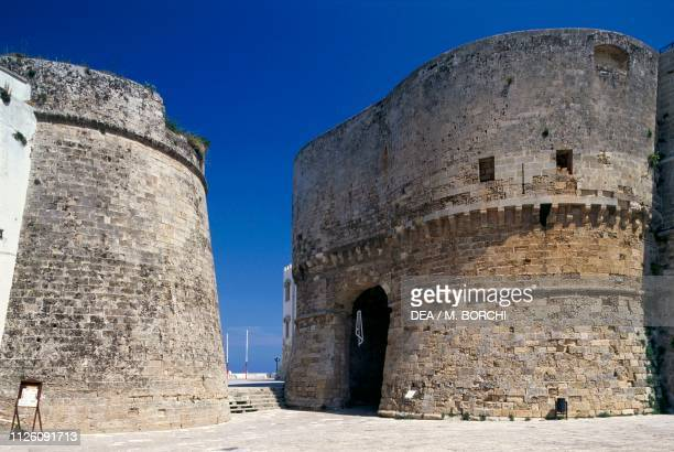 The tower commissioned by Alphonso II of Naples at Porta Terra the most ancient gate of the city Otranto Salento Apulia Italy 15th century