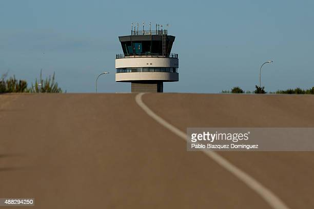 The tower control is seen behind a road one day before the first commercial flight lands at Castellon airport on September 14 2015 near Castellon de...
