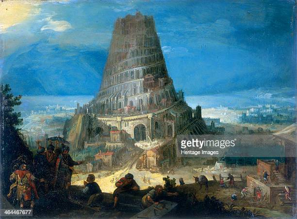 The Tower of Babel 1595 Painting on the reverse of a copperplate map