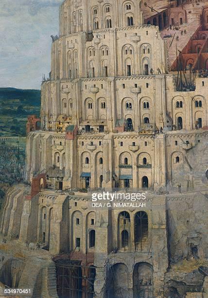 The Tower of Babel by Pieter Brueghel the Elder oil on panel 114x155 cm Belgium 16th century Detail Vienna Kunsthistorisches Museum