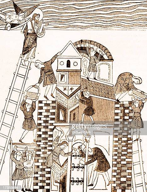 The Tower of Babel constructing the tower After illumination in Medieval Manuscript Account of the origin of languges in Genesis 1158