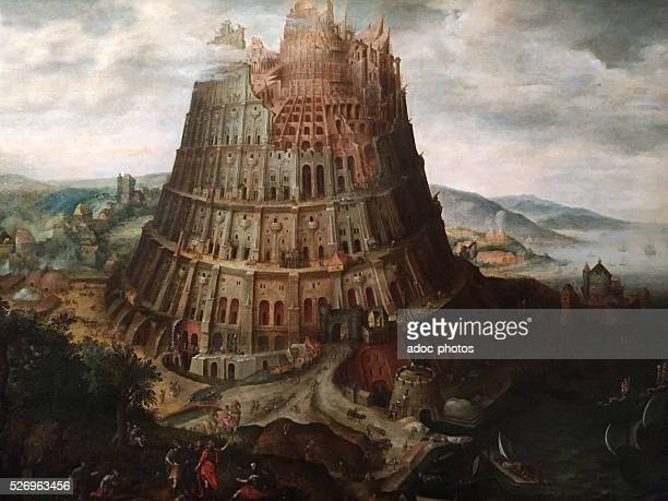 The Tower of Babel Oil on wood by Marten van Valckenborch Private collection