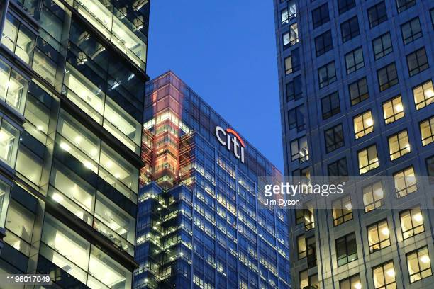 The tower of Citigroup is pictured beside that of One Canada Square, in the Canary Wharf financial district on the Isle of Dogs, December 22, 2019 in...