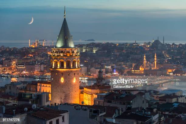 the tower of galata - historical istanbul stock pictures, royalty-free photos & images