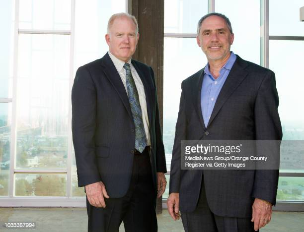 The Tower of Hope renovation architect Jim Wirick, left, and Rob Neal, chairman of the architecture and renovation committee for Christ Cathedral....