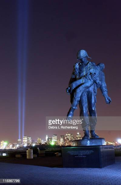 The Tower Of Lights memorializing the fallen Towers as seen from the World War Two Memorial from Liberty State Park in Jersey City New Jersey on the...