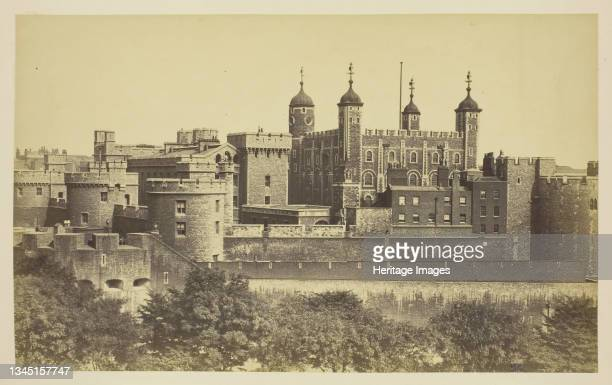 """The Tower of London, 1850-1900. [View of the White Tower]. Albumen print, from the album """"Views of London"""". Artist Unknown."""