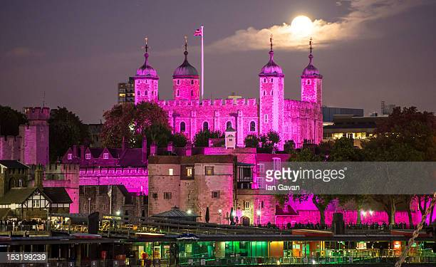The Tower of London is Illuminated pink for Breast Cancer Campaign's 'Turn London Landmarks Pink' for breast cancer awareness month on October 1 2012...