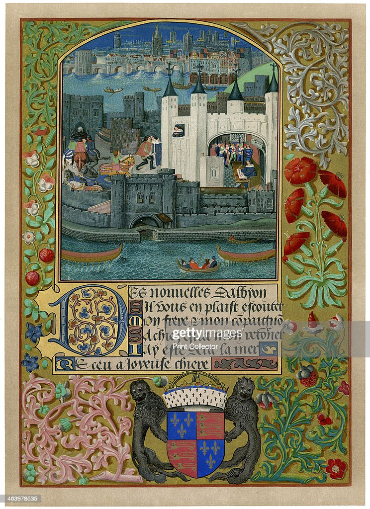 The Tower of London with London Bridge, c1500, (c1901). Charles, Duke of Orleans can be seen writing inside the Tower of London, and also at a window and in the courtyard, sending a letter. Charles was the last and arguably greatest of the French courtly poets, who also gained a reputation for his poems in English written during 25 years exile in England after his capture at Agincourt in 1415. Illustration from Illuminated Manuscripts in the British Museum, Miniatures, Borders, and Initials, by George F Warner, series III, (British Museum, London, 1901).