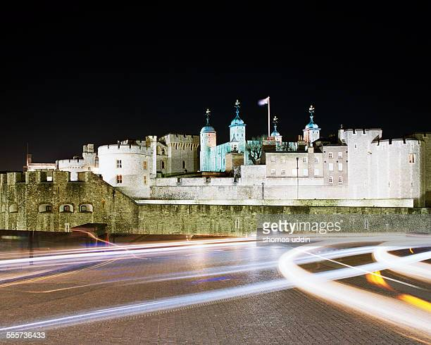The Tower of London with traffic trails