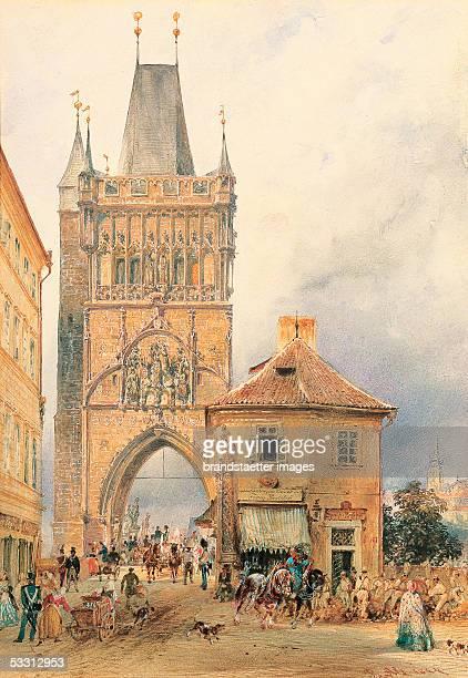 The tower of the Carl's Bridge By Rudolf von Alt 1844 Watercolour Opaque white 24 169 cm [Der Turm an der Karlsbruecke in Prag gegen die Kleinseite...
