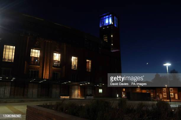 The tower restaurant at the Royal Shakespeare Company in StratforduponAvon Warwickshire is lit up in blue in a gesture of thanks to the hardworking...