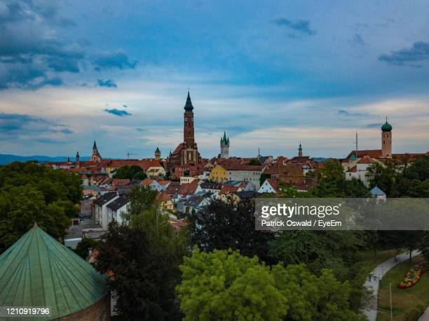 the towers of straubing - straubing stock pictures, royalty-free photos & images