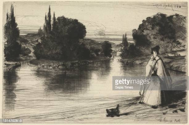 The Towing Path, Print made by Francis Seymour Haden, 1818–1910, British Etching and drypoint, with plate tone on moderately thick, moderately...