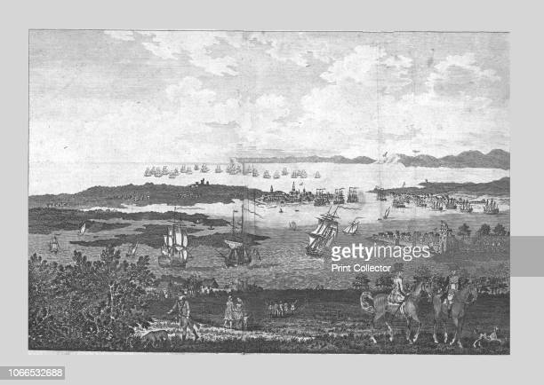 The Town and Harbour of Portsmouth with a View of his Majesty's Fleet at Spithead', 18th century. Landscape with Royal Navy ships in the distance....