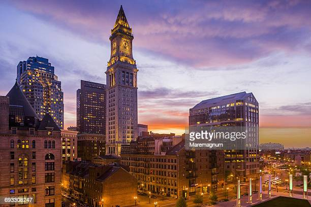 the town and the custom house tower - boston massachusetts stock pictures, royalty-free photos & images