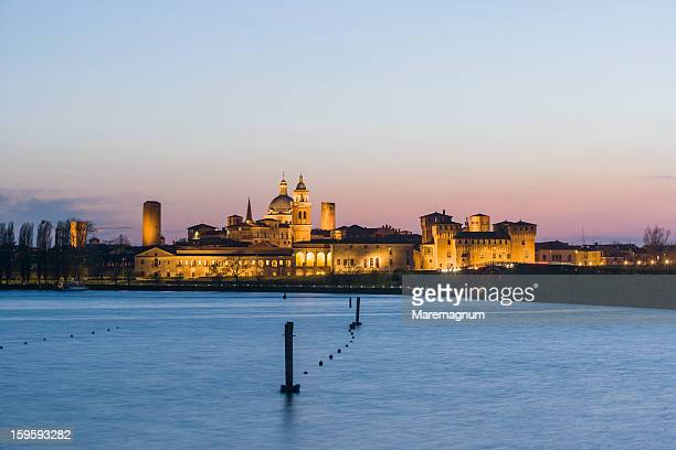 the town and the lago (lake) inferiore - mantua stock pictures, royalty-free photos & images