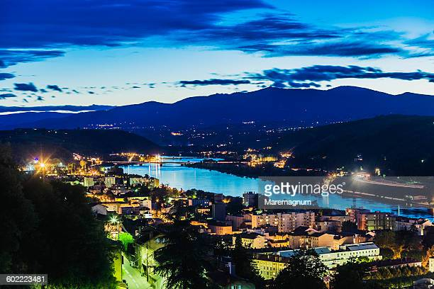 the town and the river rhone - イゼール県 ストックフォトと画像