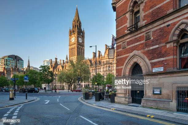 the town hall and albert square from southmill street, manchester, greater manchester, england, uk - manchester england stock pictures, royalty-free photos & images