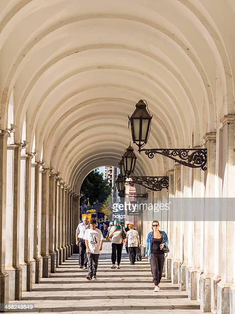 the town hall's arched walkway, plaza san martin, cordoba, argentina - cordoba argentina stock pictures, royalty-free photos & images