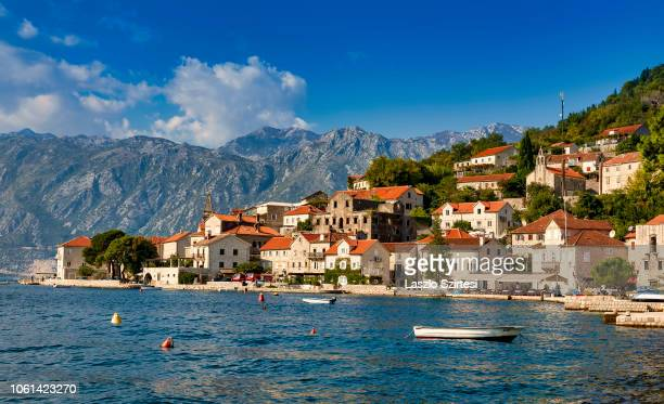 The town is seen on October 20, 2018 in Perast, Montenegro. Perast lies beneath the hill of St. Ilija, on a cape that separates the Bay of Risano...
