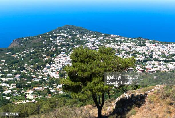 The Town Of Ana Capri Viewed From The Summit Of Monte Solaro On The Island Of Capri Italy