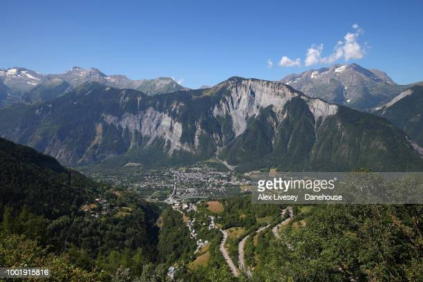 The town of Bourgd'Oisans is seen from Alpe d'Huez during Stage 12 a 1755km stage from BourgSaintMaurice Les Arcs to Alpe d'Huez of the 105th Tour de...