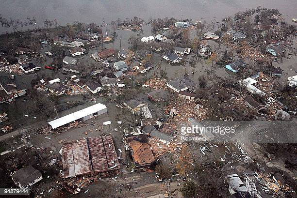 The town of Cameron Louisiana is badly flooded September 25 2005 by Hurricane Rita