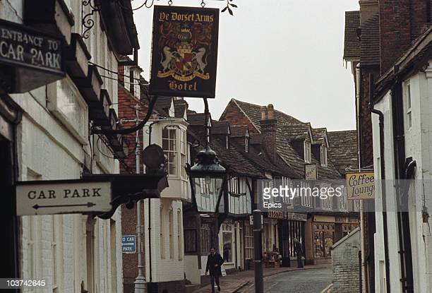 The town of East Grinstead in West Sussex with Ye Dorset Arms Hotel on the left circa 1970