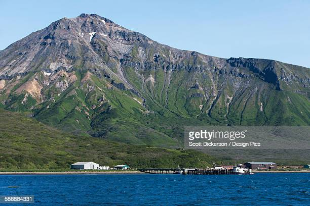 The Town Of False Pass On Unimak Island, The First Of The Aleutian Island Chain